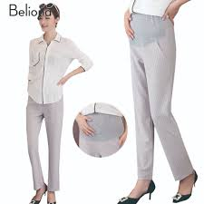 maternity work pants promotion shop for promotional maternity work 4 colors stripe casual maternity pants for pregnant women high waist work career pants for pregnancy slim maternity clothes