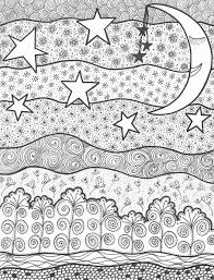 Small Picture Adult coloring page moon sun stars Starry night 10