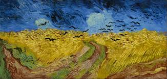 van gogh museum amsterdam an expansive painting of a wheatfield with a footpath going through the centre underneath dark