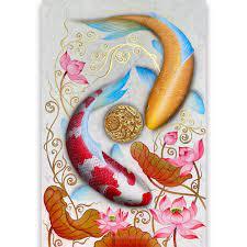 koi fish wall decor acrylic painting