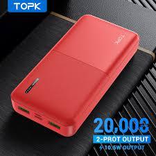 Sạc Dự Phòng TOPK I2009 20000mAh Cổng USB Kép Thiết Kế Nhỏ Gọn Tiện Lợi Cho  Xiaomi Samsung iPhone