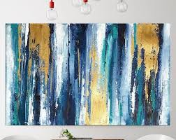 teal large abstract art canvas painting