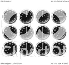 digital office clocks. Royalty-Free (RF) Clipart Illustration Of A Digital Collage Shiny Black Office Wall Clocks At Different Times By Michaeltravers T