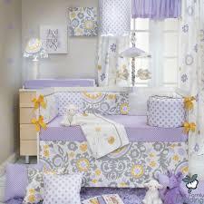 Lavender Nursery Baby Girl Purple Lavender Yellow Floral Grey Crib Nursery Quilt