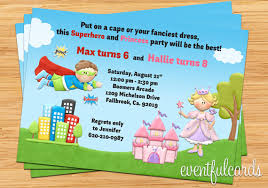 superheroes birthday party invitations kids superhero and princess joint birthday party invitation