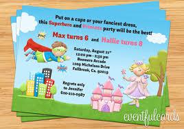 Kids Superhero And Princess Joint Birthday Party Invitation