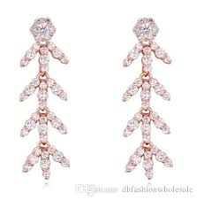 2018 fashion jewelry women high quality aaa cubic zirconia chandelier earrings luxury exquisite 18k gold plated leaves drop earrings ter024 from