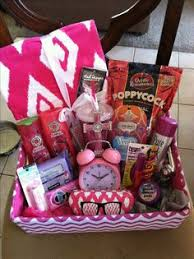pink diy gift basket idea this would be fun to send in a fun mail box to a friend a penpal or in a collage dorm care package