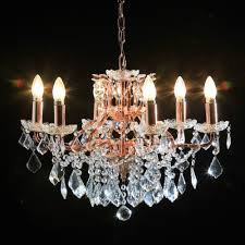 copper rose gold 6 branch shallow chandelier