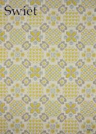 Wit Grijs Geel Blauw Behang Huisje Thuisje Slaapkamer Behang
