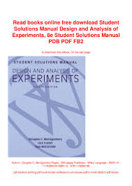 Design And Analysis Of Experiments Ebook Read Books Online Free Download Student Solutions Manual