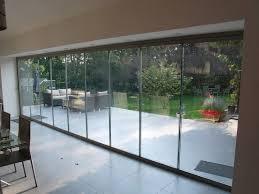 large frameless glass door back garden