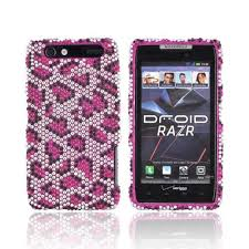motorola droid razr cases. motorola droid razr bling hard case - hot pink leopard on silver gems razr cases