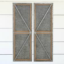 corrugated metal wood framed barn door panel wall decor set of 2 antique farmhouse