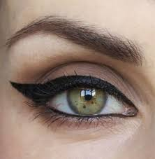 winged eyeliner done on upturned eyes