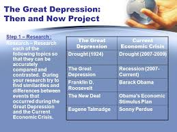 the great depression then and now project instructions during  step 1 research research research each of the following topics so that they