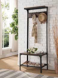 antique walnut metal wood hallway hall tree coat rack bench organizer with storage com