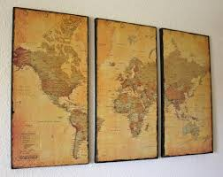 3 panel vintage world map canvas wall art by just two crafty sisters great idea for living room decor for the study office  on diy map panel wall art with the 113 best diy map projects images on pinterest maps d cor