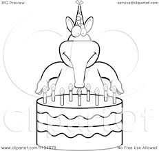 Small Picture Cartoon Clipart Of An Outlined Aardvark Making A Wish Over Candles