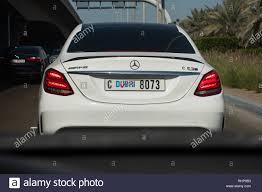 Dubai Number Plate Design Mercedese C63s With Dubai Registration Number Plate Stock
