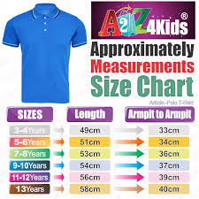 Aaa T Shirt Size Chart Details About Kids Boys Girls Polo T Shirt Designer Plain Blue School T Shirts Pe Tops 3 13 Yr