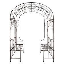 interior arch arbor with bench metal garden arbour seat black gate arbors and trellises essential