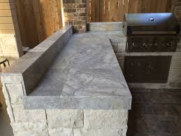 Tile Countertop Kitchen Houston Outdoor Kitchen With Silver Travertine Tile Countertop