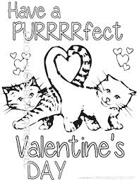 Printable Purrfect Cats With Heart Tail Valentine S Day Coloring Page
