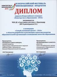 Сертификаты Диплом лауреата Всероссийского конкурса Новаторство в образовании 2016