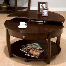 Stunning Round Coffee Tables With Storage Made Of Wooden Beautified With  Photo Frame Decorated In Hardwood