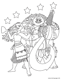 Small Picture Moana Maui with the stars Coloring pages Printable