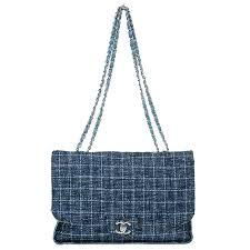 bag at the luxury closet chanel blue tweed lc 40050 182608a