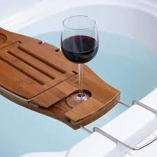 wooden bath wine holder glass of red wine