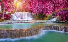 waterfalls foliage nature rainbow
