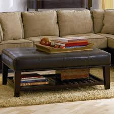Coffee Tables Large Rectangular Ottoman Coffee Table Storage With Shelf  Slipcovered Extra Square Round Brown Leather