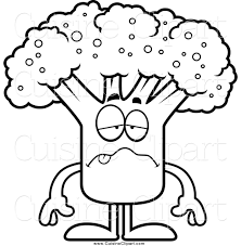 broccoli clipart black and white. Beautiful And Cuisine Clipart Of A Black And White Sick Broccoli Mascot With And N