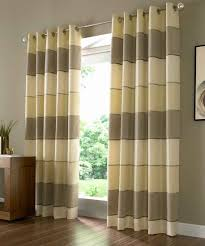 Decorations:Navy Blue Patterned Curtains With Dark Top On Two Glass Windows  Green Stripe Of