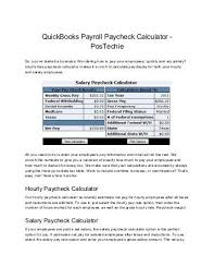 Salary Calculator Adorable Intuit QuickBooks Payroll Paycheck Calculator PosTechie For QuickBooks