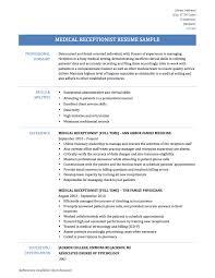 Sample Resume For Medical Receptionist Valuable Resume For Medical Receptionist 60 Sample No Experience Sa 56