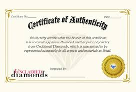Unclaimed Diamonds Certificate Of Authenticity