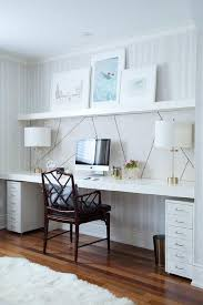 office wall desk. Wall Office Desk. Chic Home Features A Clad In Thibaut Ikat Wallpaper Lined Desk