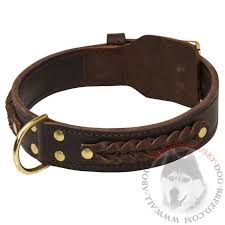 braided leather dog collar wide brown for siberian husky training and walking