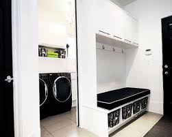 ... Cool Photos Ideas To Design A Utility Room : Minimalist Yet Modern White  Laundry Room Design ...