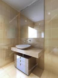 Ein Modernes Bad Mit Waschbecken Konsole In Beige Und Navajo Weiß