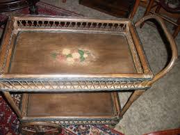 antique victorian wooden wicker tea cart trolley