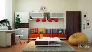 red white living room office decor