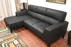 Black Leather Contemporary L-Shaped Sofa Sectional w/High Back