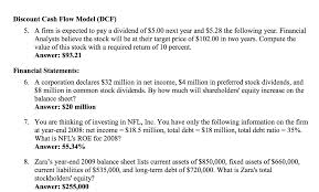 Solved Discount Cash Flow Model Dcf A Firm Is Expected