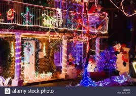 Christmas Lights Buckinghamshire England Buckinghamshire Flackwell Heath Front Garden Of