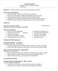 Resume Objective For Pharmacy Technician Resume Pharmacy Technician